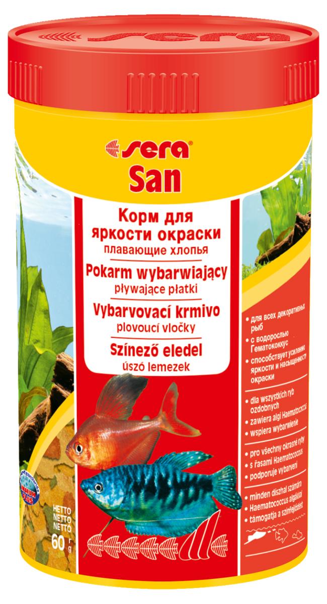 Корм для рыб Sera San, 250 мл (60 г)0250Корм для рыб Sera San - основной корм для всех видов рыб, произведенный в виде хлопьев. Хлопья имеют очень тонкую и пластичную структуру, благодаря чему охотно поедаются даже самыми привередливыми рыбами. Благодаря высокому содержанию каротина и спирулины корм способствует улучшению окраски декоративных рыб. Сбалансированный состав и высокое содержание белков и витаминов позволяет добиться отличного роста у молодых рыб. Полноценный состав из более, чем 40 ингредиентов обеспечивает ежедневные потребности в питательных веществах типичного сообщества рыб. Формула Vital-Immun-Protect гарантирует вашим рыбам прекрасное здоровье, укрепление иммунитета и обилие жизненных сил. Кормить умеренно несколько раз в день в количестве, которое рыбы могут съесть в течение короткого промежутка времени. Ингредиенты: рыбная мука, пшеничная мука, пивные дрожжи, казеинат кальция, гаммарус, яичный порошок, спирулина, масло печени трески, маннанолигосахарид (MOS 0,4%), мука из зеленых губчатых моллюсков, чеснок, зелень, люцерна, крапива, водоросли, зелень петрушки, перец, шпинат, морковь, красители, разрешенные в ЕС. Качественный состав на кг: протеин 48,6%, жир 8,3%, клетчатка 2,9%, зола 11,5%, влажность 5,2%; витамины: А 37000МЕ, В1 35мг, В2 90 мг, С 550 мг, D3 1800МЕ, Е 120 мг. Товар сертифицирован.