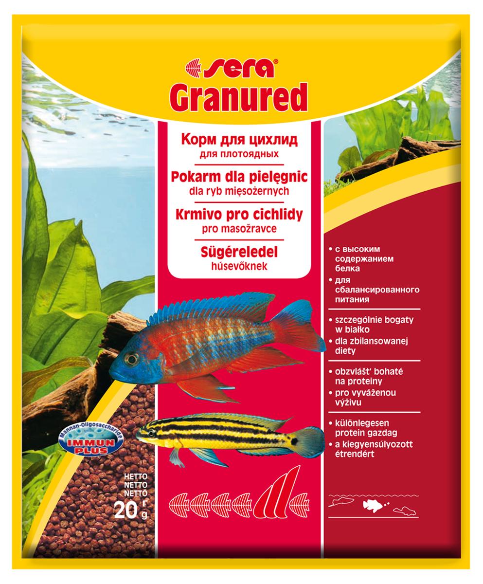 Корм для рыб Sera Granured, 20 г0401Корм для рыб Sera Granured - это основной комплексный корм в виде гранул, произведенных путем бережной обработки сырья. Состоит в основном из продуктов животного происхождения (рыбные продукты, мука из ракообразных), содержит богатую каротином водоросль спирулину, благодаря чему улучшает окраску рыб. Оптимально подобранный состав гарантирует отличное пищеварение и обилие сил у рыб. Корм предназначен преимущественно для плотоядных цихлид. Высокое содержание белка, ценных жиров и криля способствует здоровому развитию и оптимальному формированию яркости и насыщенности окраски цихлид. Медленно тонущие гранулы надолго сохраняют свою форму в воде, не загрязняя ее. Этот корм изготовлен в соответствии c формулой Vital-Immun-Protect, что гарантирует рыбам прекрасное здоровье, укрепление иммунитета и обилие жизненных сил. Инструкция по применению: Кормить один-два раза в день, но только в том количестве, которое рыбы могут съесть в течение короткого периода времени. Ингредиенты: рыбная мука (26%), кукурузный крахмал, пшеничная клейковина, пшеничная мука, пшеничные зародыши, криль (2%), рыбий жир (49% Омега жирных кислот), гаммарус, маннанолигосахариды (0,4%), пивные дрожжи, спирулина, зеленые мидии, водоросль гематококкус, чеснок. Аналитический состав: протеин 46,5%, жиры 8,2%, клетчатка 3,3%, влажность 5,0%, зольные вещества 5,3%.Витамины и провитамины: витамин A 30.000 МЕ/кг, витамин D3 1.500 МЕ/кг, витамин E (D, L-а-tocopheryl acetate) 60 мг/кг, витамин B1 30 мг/кг, витамин B2 90 мг/кг, витамин C (L-ascorbyl monophosphate) 550 мг/кг. Содержит пищевые красители, допустимые в ЕС. Товар сертифицирован.