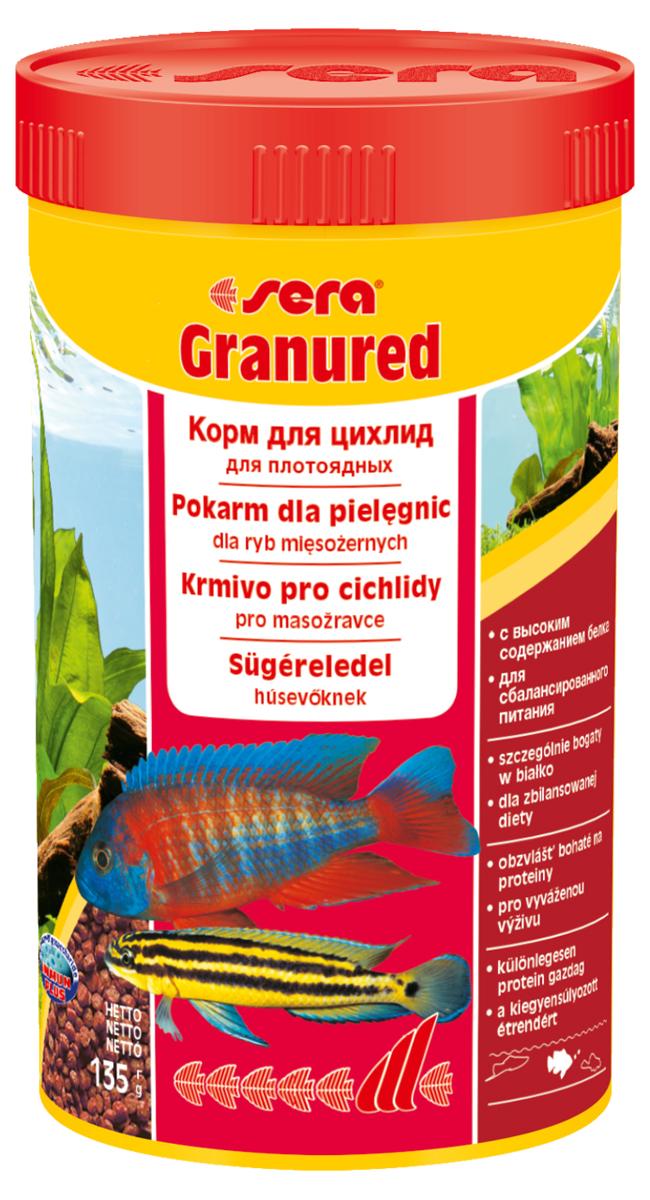 Корм для рыб Sera Granured, 250 мл (135 г)0402Корм для рыб Sera Granured - это основной комплексный корм в виде гранул, произведенных путем бережной обработки сырья. Состоит в основном из продуктов животного происхождения (рыбные продукты, мука из ракообразных), содержит богатую каротином водоросль спирулину, благодаря чему улучшает окраску рыб. Оптимально подобранный состав гарантирует отличное пищеварение и обилие сил у рыб. Корм предназначен преимущественно для плотоядных цихлид. Высокое содержание белка, ценных жиров и криля способствует здоровому развитию и оптимальному формированию яркости и насыщенности окраски цихлид. Медленно тонущие гранулы надолго сохраняют свою форму в воде, не загрязняя ее. Этот корм изготовлен в соответствии c формулой Vital-Immun-Protect, что гарантирует рыбам прекрасное здоровье, укрепление иммунитета и обилие жизненных сил. Инструкция по применению: Кормить один-два раза в день, но только в том количестве, которое рыбы могут съесть в течение короткого периода времени. Ингредиенты: рыбная мука (26%), кукурузный крахмал, пшеничная клейковина, пшеничная мука, пшеничные зародыши, криль (2%), рыбий жир (49% Омега жирных кислот), гаммарус, маннанолигосахариды (0,4%), пивные дрожжи, спирулина, зеленые мидии, водоросль гематококкус, чеснок. Аналитический состав: протеин 46,5%, жиры 8,2%, клетчатка 3,3%, влажность 5,0%, зольные вещества 5,3%.Витамины и провитамины: витамин A 30.000 МЕ/кг, витамин D3 1.500 МЕ/кг, витамин E (D, L-а-tocopheryl acetate) 60 мг/кг, витамин B1 30 мг/кг, витамин B2 90 мг/кг, витамин C (L-ascorbyl monophosphate) 550 мг/кг. Содержит пищевые красители, допустимые в ЕС. Товар сертифицирован.