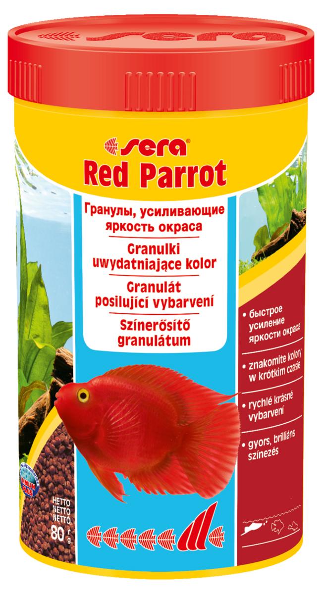 Корм для рыб Sera Red Parrot, 250 мл (80 г)0411Корм для рыб Sera Red Parrot - это плавающий гранулированный корм, специально разработанный для рыб-попугаев. Тщательно подобранные ингредиенты корма бережно обработаны и хорошо сбалансированы, чтобы удовлетворить специфические потребности этих впечатляющих рыбок. Натуральные пигменты обеспечивают усиление яркости окраса в течение короткого периода времени. Инструкция по применению: Кормить несколько раз в день экономно, но только в том объеме, который рыбы могут съесть за короткий период времени. Ингредиенты: рыбная мука, кукурузный крахмал, пшеничная мука, пшеничная клейковина, пшеничные зародыши, пивные дрожжи, спирулина, рыбий жир (49% Омега жирных кислот), водоросль гематококкус, криль, маннанолигосахариды (0,4%), растительное сырье, люцерна, крапива, петрушка, зеленые мидии, морские водоросли, паприка, шпинат, морковь, чеснок. Аналитический состав: протеин 42,0%, жиры 8,5%, клетчатка 2,8%, влажность 5,2%, зольные вещества 6,9%.Витамины и провитамины: витамин А 37.000 МЕ/кг, витамин D3 1.800 МЕ/кг, витамин Е (D, L-a-tocopheryl acetate) 120 мг/кг, витамин В1 35 мг/кг, витамин B2 90 мг/кг, витамин С (L-ascorbyl monophosphate)550 мг/кг. Содержит пищевые красители, допустимые в ЕС. Товар сертифицирован.