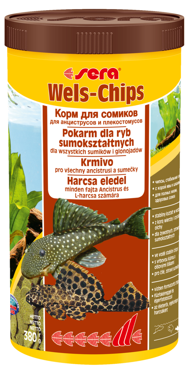 Корм для рыб Sera Wels Chips, 1 л (380 г)0508Корм для рыб Sera Wels Chips - специализированный корм в виде чипсов для сомиков, содержащий кору ивы и шишки ольхи. Предназначен как для сомов, соскабливающих корм роговым наростом, так и для сомов со ртом в виде присоски. Высокое содержание балластных веществ поддерживает пищеварение и соответствует естественным особенностям питания рыб. Быстро тонущие чипсы сохраняют свою форму в течение 24 часов, не загрязняя воду. Это позволяет ночным сомам поедать корм медленно. Инструкция по применению: Кормить экономно один раз в день. Ночных животных желательно кормить вечером. Ингредиенты: рыбная мука, кукурузный крахмал, пшеничная мука, пшеничные зародыши, пивные дрожжи, спирулина, сухое молоко, рыбий жир (49% Омега жирных кислот), растительное сырье, цельный яичный порошок, кора ивы (0,5%), ольховые шишки (0,5%), крапива, люцерна, маннанолигосахариды (0,4%), петрушка, морские водоросли, паприка, шпинат, морковь, зеленые мидии, водоросль гематококкус, чеснок. Аналитический состав: протеин 34,2%, жиры 6,9%, клетчатка 6,2%, влажность 4,2%, зольные вещества 6,5%.Витамины и провитамины: витамин A 30.000 МЕ/кг, витамин D3 1.500 МЕ/кг, витамин E (D, L-a-tocopheryl acetate) 60 мг/кг, витамин B1 30 мг/кг, витамин B2 90 мг/кг, витамин C (L-ascorbyl monophosphate) 550 мг/кг. Товар сертифицирован.