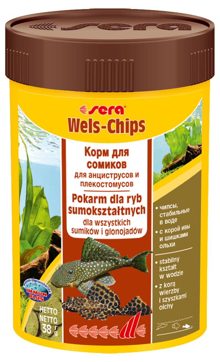 Корм для рыб Sera Wels Chips, 100 мл (38 г)0510Корм для рыб Sera Wels Chips - специализированный корм в виде чипсов для сомиков, содержащий кору ивы и шишки ольхи. Предназначен как для сомов, соскабливающих корм роговым наростом, так и для сомов со ртом в виде присоски. Высокое содержание балластных веществ поддерживает пищеварение и соответствует естественным особенностям питания рыб. Быстро тонущие чипсы сохраняют свою форму в течение 24 часов, не загрязняя воду. Это позволяет ночным сомам поедать корм медленно. Инструкция по применению: Кормить экономно один раз в день. Ночных животных желательно кормить вечером. Ингредиенты: рыбная мука, кукурузный крахмал, пшеничная мука, пшеничные зародыши, пивные дрожжи, спирулина, сухое молоко, рыбий жир (49% Омега жирных кислот), растительное сырье, цельный яичный порошок, кора ивы (0,5%), ольховые шишки (0,5%), крапива, люцерна, маннанолигосахариды (0,4%), петрушка, морские водоросли, паприка, шпинат, морковь, зеленые мидии, водоросль гематококкус, чеснок. Аналитический состав: протеин 34,2%, жиры 6,9%, клетчатка 6,2%, влажность 4,2%, зольные вещества 6,5%.Витамины и провитамины: витамин A 30.000 МЕ/кг, витамин D3 1.500 МЕ/кг, витамин E (D, L-a-tocopheryl acetate) 60 мг/кг, витамин B1 30 мг/кг, витамин B2 90 мг/кг, витамин C (L-ascorbyl monophosphate) 550 мг/кг. Товар сертифицирован.