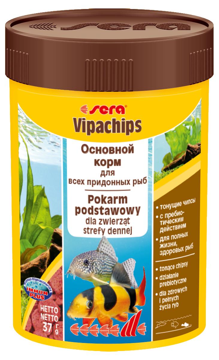 Корм для рыб Sera Vipachips, 100 мл (37 г)0514Корм для рыб Sera Vipachips в виде чипсов предназначен для всех видов донных рыб. Быстро тонущие чипсы становятся мягкими в воде, при этом надолго сохраняют свою форму и не загрязняют воду. Состав корма позволяет обеспечить придонных обитателей всеми необходимыми им питательными веществами. Отлично подходит для кормления креветок, крабов и других пресноводных беспозвоночных. Тщательно подобранные ингредиенты корма с пребиотическим действием способствуют здоровью и жизнестойкости рыб. Формула Vital-Immun-Protect гарантирует вашим рыбам прекрасное здоровье, укрепление иммунитета и обилие жизненных сил. Инструкция по применению: Кормить экономно один раз в день. Ночных животных желательно кормить вечером. Ингредиенты: рыбная мука, пшеничная мука, кукурузный крахмал, пшеничные зародыши, пивные дрожжи, цельный яичный порошок, сухое молоко, рыбий жир (49% Омега жирных кислот), криль, маннанолигосахариды (0,4%), растительное сырье, люцерна, крапива, петрушка, морские водоросли, паприка, спирулина, зеленые мидии, шпинат, морковь, водоросль гематококкус, чеснок. Аналитический состав: протеин 33,5%, жиры 7,5%, клетчатка 5,3%, влажность 5,0%, зольные вещества 6,4%.Витамины и провитамины: витамин A 37.000 МЕ/кг, витамин D3 1.800 МЕ/кг, витамин E (D, L-а-tocopheryl acetate) 120 мг/кг, витамин B1 35 мг/кг, витамин B2 90 мг/кг, витамин C (L-ascorbyl monophosphate) 550 мг/кг. Содержит пищевые красители, допустимые в ЕС. Товар сертифицирован.