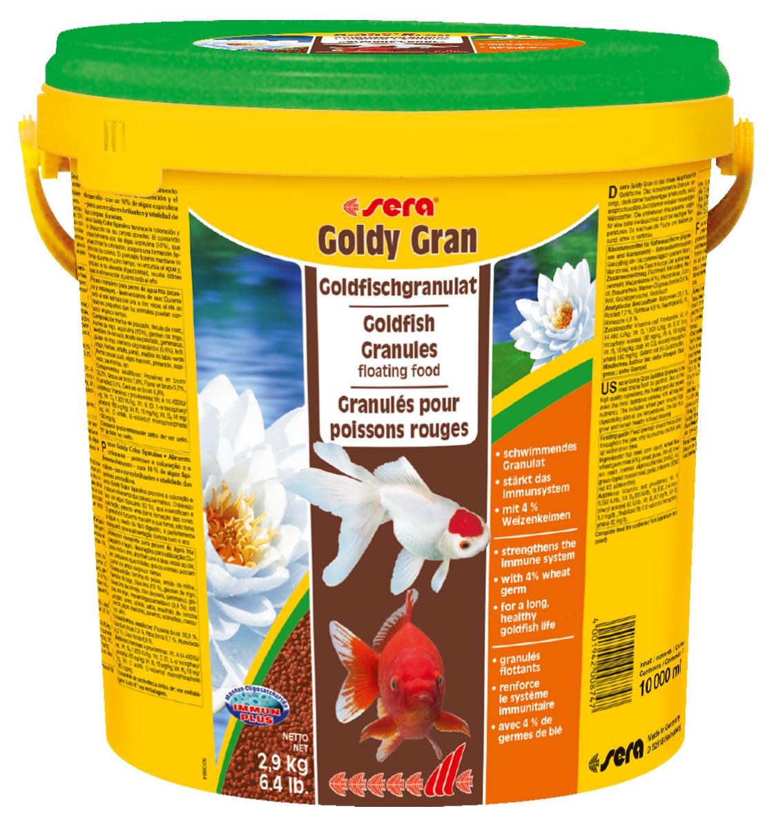 Корм для рыб Sera Goldy Gran, 10 л (2,9 кг)0874Корм для рыб Sera Goldy Gran - комплексный корм для холодноводных рыб (аквариумных и прудовых), идеальный основной корм для золотых рыбок. Плавающие гранулы корма, благодаря высококачественным ингредиентам, обеспечивают всеми необходимыми питательными веществами даже самые привередливые виды рыб. Входящие в состав корма зародыши пшеницы гарантируют высокую усвояемость корма, в том числе при низких температурах. Рыбы, таким образом, растут и остаются здоровыми без перекармливания. Результатом кормления этим кормом будут яркие цвета, здоровый рост, крепкая иммунная система, плодовитость и жизнеспособность рыб. Инструкция по применению: Кормите небольшими порциями один-два раза в день, в течение всего года. Дозируйте такое количество корма, которое рыбы могут съесть в течение короткого периода времени. Ингредиенты: рыбная мука, кукурузный крахмал, пшеничная мука, пшеничные зародыши (4%), пшеничная клейковина, рыбий жир, пивные дрожжи, маннанолигосахариды (0,4%), криль, зеленые мидии, чеснок. Аналитический состав: протеин 33,0%, жиры 7,2%, клетчатка 4,8%, влажность 5,4%, зольные вещества 5,8%.Витамины и провитамины: витамин А 14.400 МЕ/кг, витамин D31.800 МЕ/кг, витамин Е (D, L-a-tocopheryl acetate) 180 мг/кг, витамин В1 18 мг/кг, витамин В2 18 мг/кг, витамин С (L-ascorbyl monophosphate) 180 мг/кг. Содержит пищевые красители, допустимые в ЕС. Товар сертифицирован.