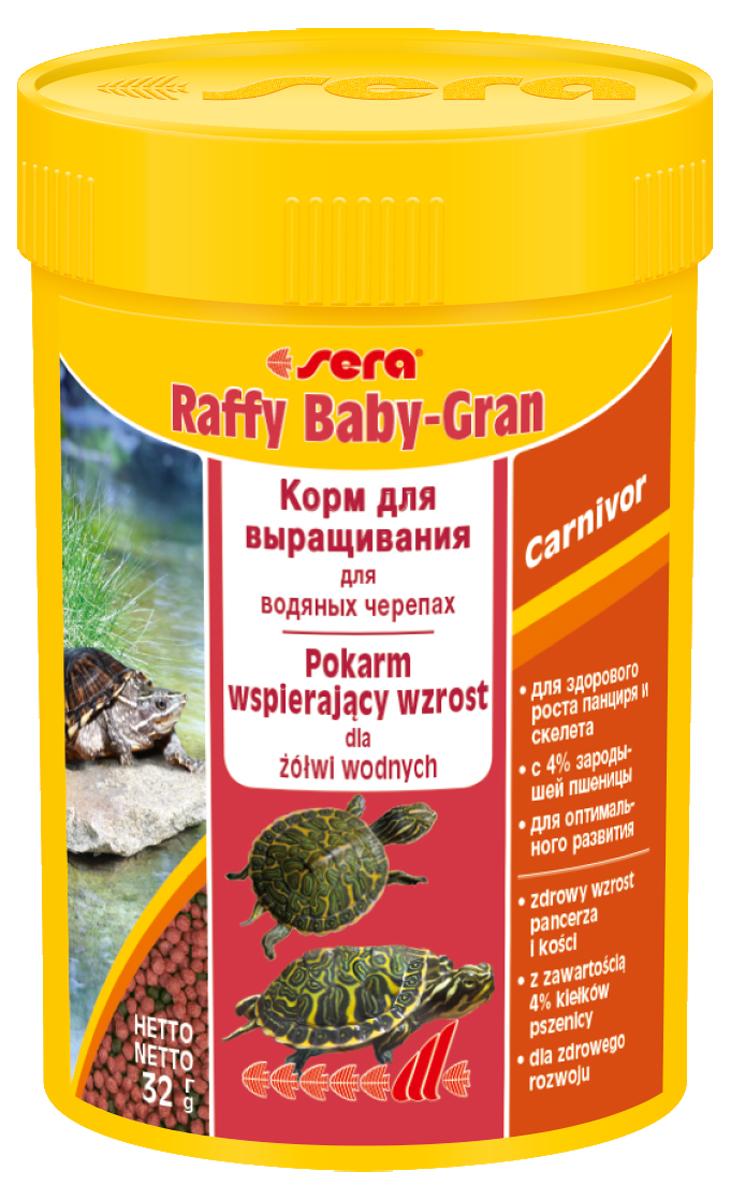 Корм для рептилий Sera Raffy Baby Gran, 100 мл (32 г)1727Корм для рептилий Sera Raffy Baby Gran - комплексный корм для молодых водных черепах и других молодых плотоядных рептилий. Легко усваиваемый корм, благодаря своему составу, соответствует потребностям рептилий в природе. Корм очень легко переваривается и не загрязняет воду. Благодаря высокому содержанию минералов и микроэлементов активирует быстрый и здоровый рост. Инструкция по применению: Кормить экономно, несколько раз в день. Смешать со свежим кормом в соответствии с потребностями. Ингредиенты: рыбная мука, кукурузный крахмал, пшеничная мука, пшеничные зародыши (4%), пивные дрожжи, спирулина, пшеничная клейковина, рыбий жир, криль, зеленые мидии, гаммарус, растительное сырье, люцерна, крапива, петрушка, чеснок, морские водоросли, паприка, шпинат, морковь. Состав: белки 40,4%, жиры 4,8%, волокна 3,5%.Товар сертифицирован.