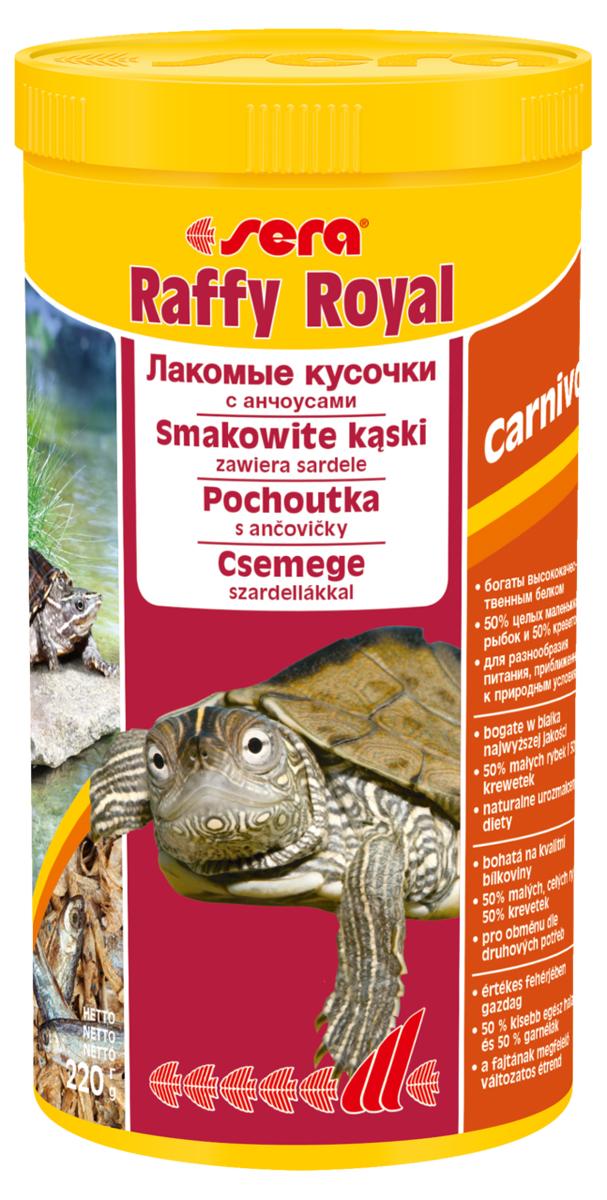 Корм для рептилий Sera Raffy Royal, 1 л (220 г)1736Корм для рептилий Sera Raffy Royal - это смешанный корм-лакомство для водных черепах и других плотоядных рептилий, а также хищных рыб, богатое легко усваиваемым белком и микроэлементами. Корм изготовлен из кормовых организмов, высушенных целиком. В природе маленькие рыбки являются важным источником питания водных черепах. Инструкция по применению: Кормить экономно, несколько раз в неделю, между основными кормлениями. Кормя черепах целыми рыбками, вы можете полностью повторить процесс кормления, так как это происходит в природе. Ингредиенты: рыба (50%), креветки (50%).Аналитический состав: протеин 62,3%, жиры 8,0%, клетчатка 4,9%, влажность 8,3%, зольные вещества 14,4%, кальций 2,3%, фосфор 1,5%.Товар сертифицирован.
