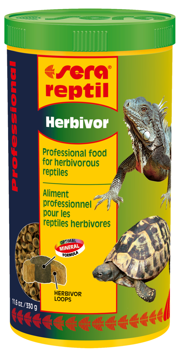 Корм для рептилий Sera Reptil Professional Herbivor, 1 л (330 г) кормушка поилка sera большая для рептилий