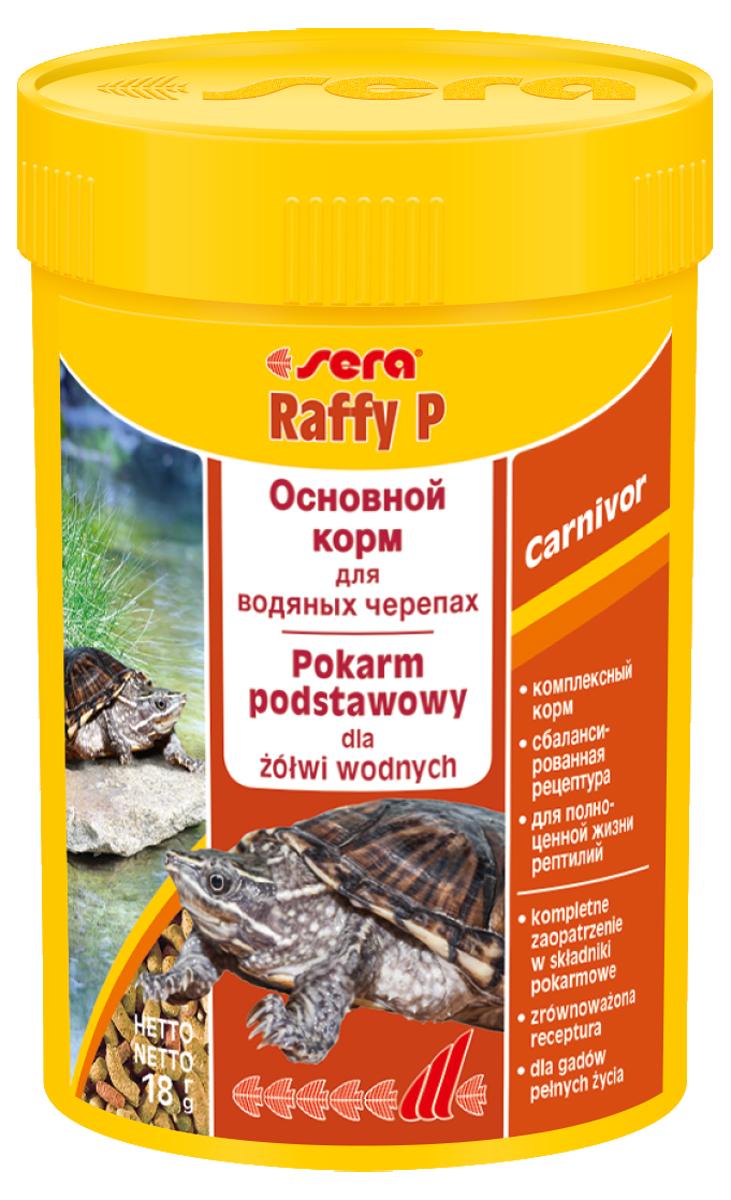 Корм для рептилий Sera Raffy P, 100 мл (18 г)1840Корм для рептилий Sera Raffy P - комплексный корм для водных черепах, ящериц и других плотоядных рептилий. Сбалансированный состав с оптимальным содержанием легко усваиваемых белков и углеводов, а также высококачественных жиров способствует здоровому развитию животных. Эти вкусные палочки содержат все необходимые ингредиенты, а также дополнительное количество кальция.Инструкция по применению: Кормить экономно. Смешать со свежим кормом в соответствии с потребностями животных. Ингредиенты: кукурузный крахмал, пшеничная клейковина, рыбная мука, пшеничная мука, пивные дрожжи, цельный яичный порошок, рыбий жир, гаммарус, зеленые мидии, люцерна, растительное сырье, крапива, петрушка, морские водоросли, паприка, спирулина, шпинат, морковь, чеснок. Аналитический состав: протеин 41,0%, жиры 5,4%, клетчатка 4,5%, влажность 4,0%, зольные вещества 5,4%, кальций 1,0%, фосфор 0,6%.Витамины (на 1 кг): А 30000 МЕ, D3 15000 МЕ, Е 60 мг, В1 30 мг, В2 90 мг, С 550 мг. Товар сертифицирован.