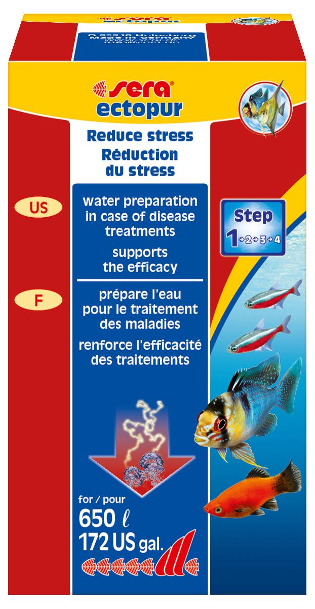 Средство для воды Sera Ectopur, 100 мл (130 г)2320Средство для воды Sera Ectopur - это дополнительное средство при лечении рыб от эктопаразитов и грибков в пресноводных аквариумах и садовых прудах. 1. При слабом заражении паразитами и грибком: 2 чайные ложки (5 г) Ectopur на 25 л воды.2. При значительном поражении грибком Ectopur применяют для усиления действия Mycopur (в аквариумах) и Pond Omnisan (в прудах): 2 чайные ложки (5 г) на 25 л воды.3. При бактериальных поражениях сочетать Ectopur и Bactopur (в аквариумах) и Pond Omnipur (в прудах): 2 чайные ложки (5 г) на 25 л воды.Состав на 100 г: перборат натрия 2,746 г,борат натрия 1,692 г, хлорид натрия - 95,562 г.