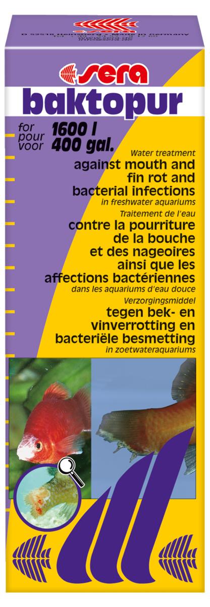 Средство для воды Sera Baktopur, 100 мл2560Средство для воды Sera Baktopur надежно борется с бактериальными инфекциями, такими как нагноение ротовой полости и плавниковая гниль. Симптомами бактериальных заболеваний являются белые с сероватым оттенком, подобные вате, образования на коже и плавниках пресноводных и прудовых рыб.