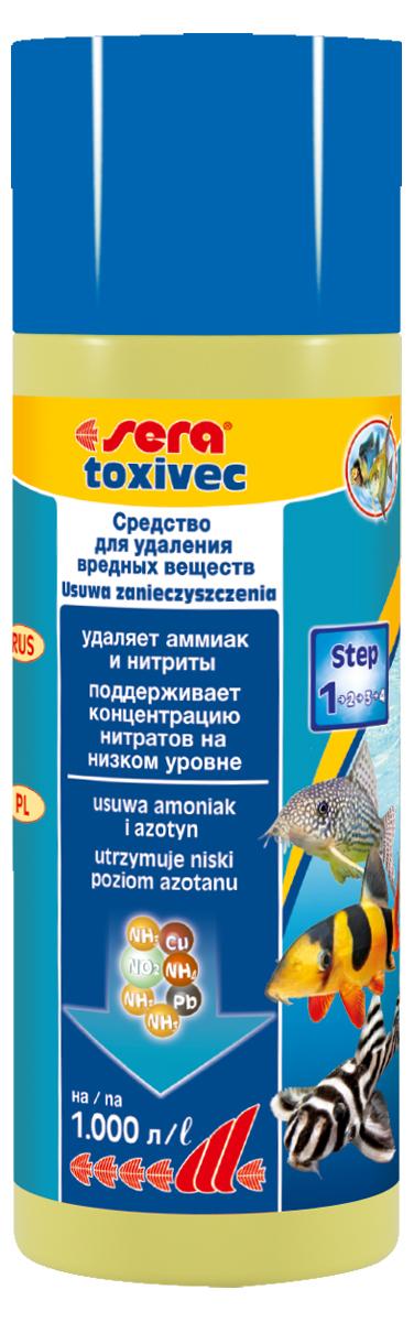 Средство для воды Sera Toxivec, 250 мл3002Средство для воды Sera Toxivec содержит новейшую формулу QuickClean и немедленно устраняет опасные загрязнители, угрожающие жизни рыб и фильтрующих бактерий, из аквариумной воды, устраняет аммоний/аммиак и нитриты. Благодаря этому он предотвращает их переход в нитраты и, таким образом, сдерживает рост нежелательных водорослей. Кроме того, он устраняет агрессивный хлор из водопроводной воды. Также эффективен в качестве устранителя остатков дезинфицирующих средств и примененных лекарств. При этом он способен даже на большее: связывает токсичные тяжёлые металлы, такие как медь, цинк, свинец и даже ртуть.Поэтому эти загрязнители не могут навредить рыбам и полезным бактериям в биофильтре. Благодаря этому частота подмен воды может быть снижена. При необходимости, например, при особенно высоких уровнях загрязнения, допускается повышение применяемой дозы средства. Повторное внесение средства возможно уже через один-два часа.Уважаемые клиенты!Обращаем ваше внимание на возможные изменения в дизайне упаковки. Качественные характеристики товараостаются неизменными. Поставка осуществляется в зависимости от наличия на складе.