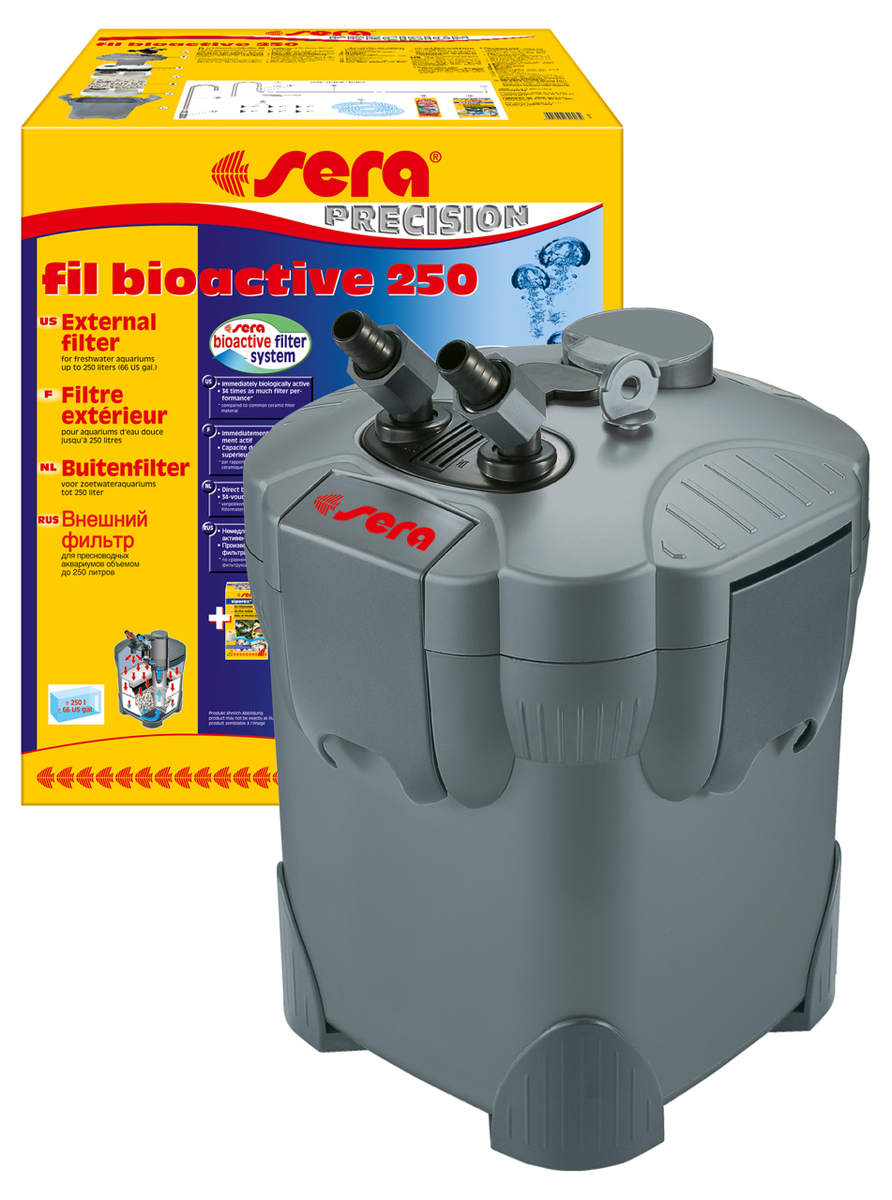 Фильтр аквариумный внешний Sera Fil Bioactive 25030603Фильтр аквариумный внешний Sera Fil Bioactive - многоцелевой, удобный и простой в использовании внешний фильтр для пресноводных аквариумов. Этот мощный и при этом экономящий энергию внешний фильтр с большим количеством принадлежностей готов к эксплуатации и немедленно биологически активен. Емкости для фильтрующих материалов гарантируют оптимальную послойную укладку фильтрующих материалов и простой доступ к ним. Входной и выходящий патрубки фильтров разработаны таким образом, что соединительные шланги могут отделяться для чистки с помощью разборных соединений с регулируемым вентилем. Надежный фильтр отличается тихой работой двигателя и длительным сроком службы. Поставляется с высокоэффективным фильтрующим материалом Sera siporax Professional и биологическим активатором Sera filter biostart.