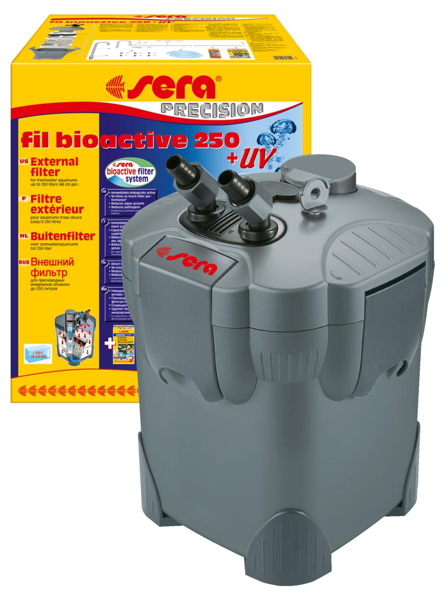 Фильтр аквариумный внешний Sera Fil Bioactive 250 + УФ30604Фильтр аквариумный внешний Sera Fil Bioactive - это многоцелевой, удобный и простой в использовании внешний фильтр с встроенным УФ-стерилизатором для пресноводных аквариумов. Этот мощный и при этом экономящий энергию внешний фильтр с большим количеством принадлежностей готов к эксплуатации и немедленно биологически активен. Емкости для фильтрующих материалов гарантируют оптимальную послойную укладку фильтрующих материалов и простой доступ к ним. Входной и выходящий патрубки фильтров разработаны таким образом, что соединительные шланги могут отделяться для чистки с помощью разборных соединений с регулируемым вентилем. Фильтры серии УФ (130 + УФ, 250 + УФ, 400 + УФ) оснащены встроенной УФ-лампой 5 Вт, которая облучает жестким УФ-излучением фильтруемую воду, уничтожая болезнетворных организмов, паразитов и водорослей на стадии размножения.Модель отличается тихой работой двигателя и длительным сроком службы. Поставляется с высокоэффективным фильтрующим материалом Sera siporax Professional и биологическим активатором Sera filter biostart.