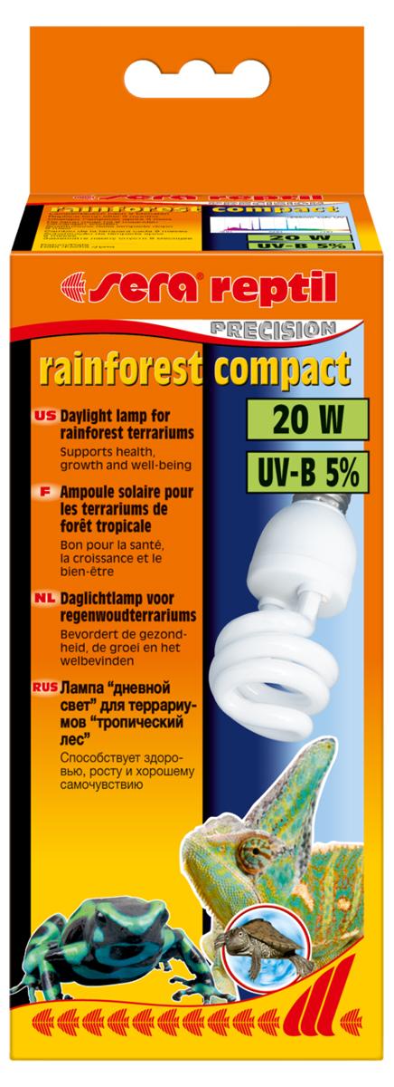 Лампа для террариума Sera Rainforest Compact, 5%, 20 Вт32020Лампа дневного освещения для террариума Sera Rainforest Compact обеспечивает средний уровень излучения UV-B 5%. Предназначена для террариумов с обитателями тропических лесов. Она способствует здоровью, росту и хорошему самочувствию рептилий. Рептилии ассоциируют тепло со светом и целенаправленно направляются к источнику света, чтобы принять солнечные ванны. С помощью таких солнечных ванн рептилия обеспечивает себе естественную регуляцию тепла. Полный спектр лампы, аналогичный солнечному спектру, стимулирует естественное поведение и обеспечивает хорошую цветопередачу.