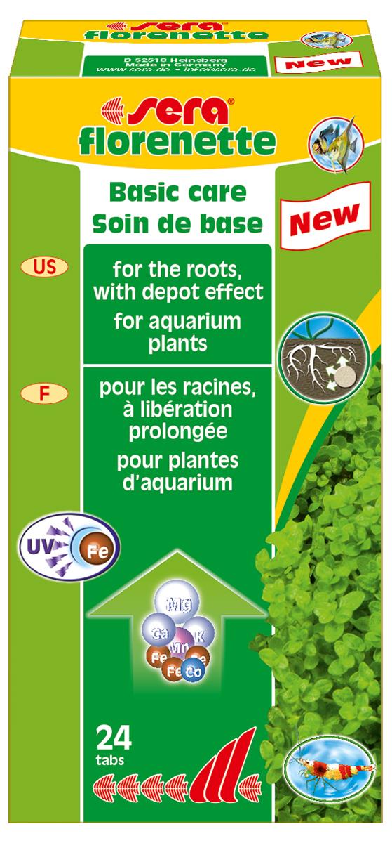 Удобрение для аквариумных растений Sera Florenette, 24 таблетки3320Удобрение для аквариумных растений Sera Florenette предназначено для ухода за водными растениями, которые потребляют питательные вещества в основном через корни. Эти вдавливаемые в грунт таблетки обеспечивают водные растения всеми необходимыми минералами и микроэлементами для здорового и пышного роста. Специальная формула обеспечивает длительное и интенсивное питание. Эффективные природные усиливающие рост добавки обеспечивают мощный импульс роста, который, в свою очередь, значительно облегчает фазу укоренения растений. Продукт не содержит нитратов и фосфатов. Он хорошо переносим всеми беспозвоночными. Нежелательные водоросли не имеют никаких шансов размножиться из-за высокой скорости роста водных растений.Комбинация sera florenette и sera florena отлично сбалансирована и оптимально соответствует всем требованиям различных аквариумных растений.