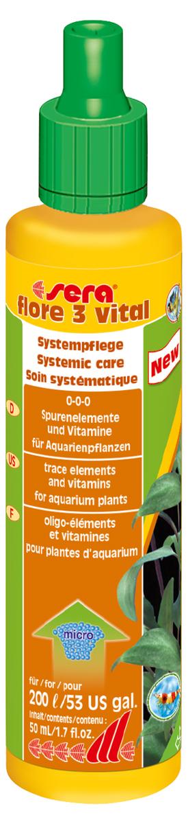 Удобрение для аквариумных растений Sera Flore 3 Vital, 50 мл3347Удобрение для аквариумных растений Sera Flore 3 Vital предназначено для повышения выносливости растений. Оно надежно предотвращает опасные перебои в снабжении питательными веществами, поддерживая, при ежедневном применении, постоянный уровень жизненно важных микроэлементов и витаминов. С помощью добавления редких, но важных микроэлементов повышается устойчивость водных растений к болезням. Растения будут оставаться здоровыми и становиться менее чувствительными к неблагоприятным внешним воздействиям. Удобрение не содержит нитратов и фосфатов. Хорошо переносимо всеми беспозвоночными.