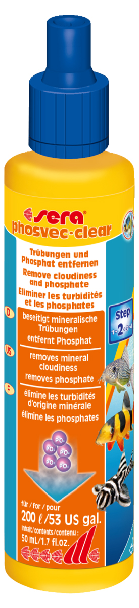 Средство для воды Sera Phosvec-Clear, 50 мл3391Средство для воды Sera Phosvec-Clear обеспечивает чистую, кристально прозрачную воду без фосфатов. Средство устраняет минеральное помутнение воды и удаляет фосфаты - одно из основных питательных веществ для водорослей.Минеральные вещества, так же как и мертвый органический материал (детрит), могут вызывать помутнение аквариумной воды. Это может дополнительно увеличить концентрацию фосфатов в воде и, таким образом, способствовать разрастанию водорослей. Sera Phosvec-Clear немедленно связывает частицы, вызывающие помутнение воды и, таким образом, делает возможным улавливание их фильтром. В то же время он удаляет излишки фосфатов, чем предотвращает разрастание водорослей.