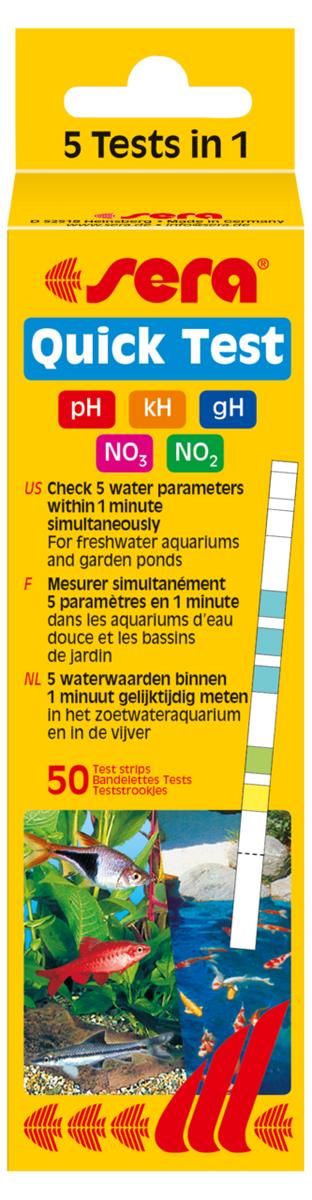 Тест для воды Sera Quick Test 5-In-1, на 5 параметров воды средство для воды sera baktopur direct 24 таблетки