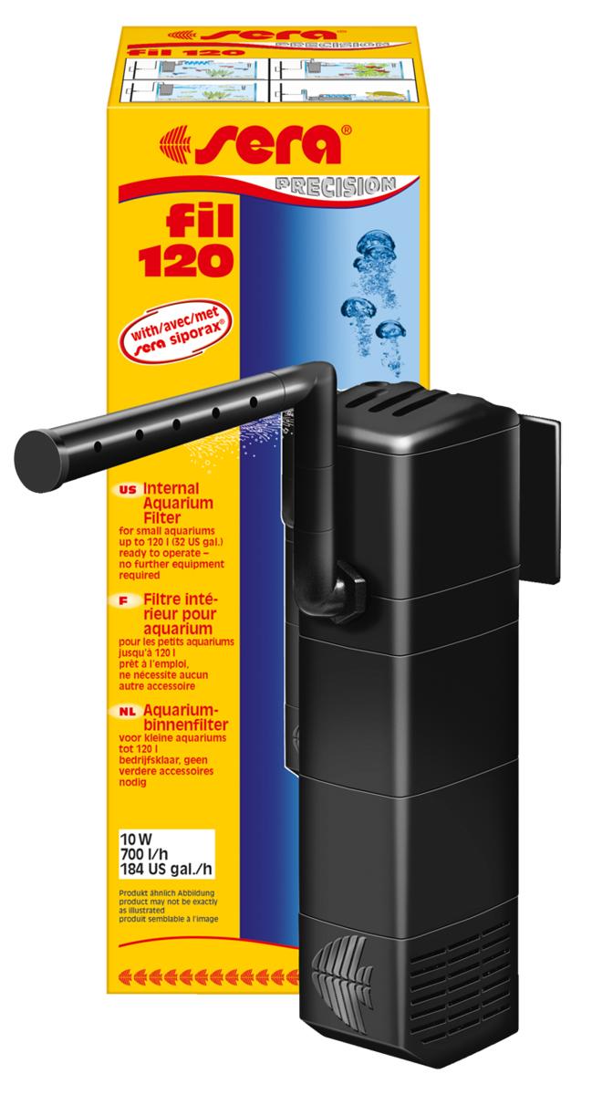 Фильтр аквариумный внутренний Sera Fil, до 120 л6844Фильтр аквариумный внутренний Sera Fil предназначен для аквариумов объемом до 120 литров. Дополнительное преимущество: подача воды при помощи трубки Вентури (аэрация) помогает насыщать воду кислородом. Широчайший набор аксессуаров, состоящий из коленчатых трубок, флейты для распыления воды и присосок, позволяет установить фильтр в самых разных положениях. Дополнительный третий отсек фильтра наполнен новым высокоактивным биологическим наполнителем Sera siporax mini. Так как фильтр можно установить в горизонтальном положении, он отлично подойдет для акватеррариумов с черепахами, имеющими низкий уровень воды.Фильтр может быть усовершенствован при помощи дополнительных модулей и практически не требует обслуживания – одобрение TUV/GS и CE гарантирует безопасность использования.