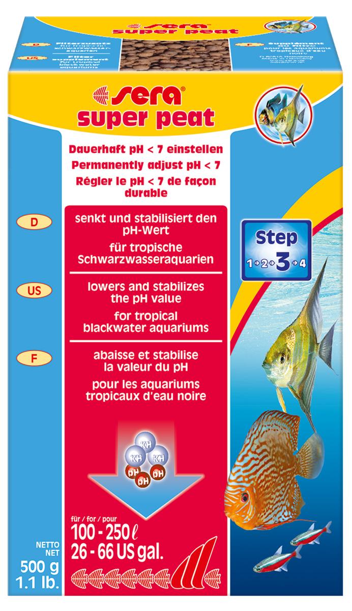 Торф гранулированный Sera Super Peat, 500 г8410Торф гранулированный Sera Super Peat постепенно выделяет в аквариумную воду ценные гуминовые кислоты и микроэлементы. В зависимости от начальных параметров воды торф в той или иной мере снижает карбонатную жесткость и значение pH. Значение pH сохраняется на постоянном уровне в слабо-кислой зоне в течение длительного времени. Это позволяет рыбам из мягководных регионов чувствовать себя значительно лучше. Удобрение подавляет развитие грибков, бактерий и водорослей. Также его можно использовать при подготовке воды в нерестовых аквариумах.