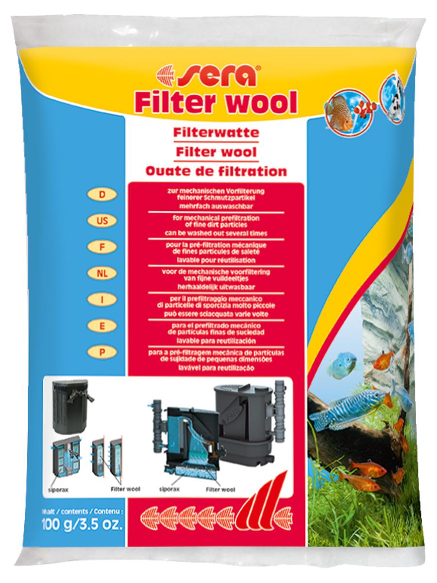 Фильтрующая вата Sera Filter Wool, 100 г8460Фильтрующая вата Sera Filter Wool предназначена для использования в качестве фильтрующего материала тонкой очистки в любых внешних и внутренних фильтрах аквариумов. Перед использованием в фильтре тщательно промойте фильтрующую вату под струей теплой воды.