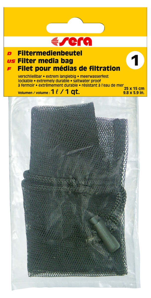 Сменный мешочек Sera №1, для фильтрующих наполнителей8493Сменный мешочек Sera №1 предназначен для фильтрующих материалов: активированного угля, материалов для биологической фильтрации, торфа и т.п. Для многократного использования.