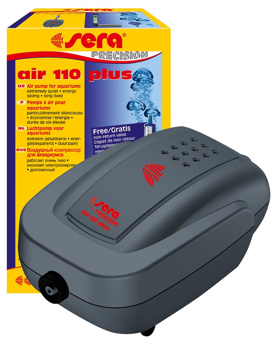 Компрессор аквариумный Sera Air 110 Plus8812Компрессор аквариумный Sera Air 110 Plus подходит для обогащения воды кислородом через распылитель для фильтров (например, внутренние фильтры Sera серии L (Sera internal filter L)), а также для приведения в движение подвижных декоративных элементов, работающих от воздушного компрессора.Воздушные компрессоры Sera Air Plus отвечают всем современным требованиям:- высокое качество,- корпус из шумопоглащающего материала обеспечивает низкий уровень шума,- современный дизайн,- низкое потребление энергии,- долгий срок службы.
