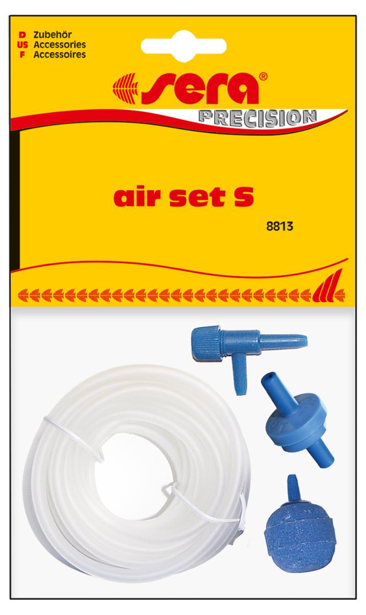 Набор аксессуаров для компрессора Sera Air Set S8813Набор аксессуаров для компрессора Sera Air Set S - всё нужное в комплекте. Состав набора:- высококачественный силиконовый шланг - 2м.- обратный клапан - 1 шт.- регулятор производительности - 1шт.- распылитель воздуха - 1 шт. Обратный клапан должен быть подключен стороной IN к шлангу, идущему от компрессора, а стороной OUT к шлангу, идущему в аквариум. Если клапан не пропускает воздух, проткните его тонким предметом, например канцелярской скрепкой.