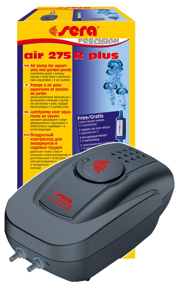 Компрессор аквариумный Sera Air 275 R Plus, регулируемый8814Компрессор аквариумный Sera Air 275 R Plus подходит для обогащения воды кислородом через распылитель для фильтров (например, внутренние фильтры Sera серии L (Sera internal filter L)), а также для приведения в движение подвижных декоративных элементов, работающих от воздушного компрессора. Воздушные компрессоры Sera Air Plus отвечают всем современным требованиям: - высокое качество, - корпус из шумопоглащающего материала обеспечивает низкий уровень шума, - современный дизайн, - низкое потребление энергии, - долгий срок службы. Высококачественный двухканальный компрессор Air 275 R Plus предназначен для аквариумов средних объемов. Имеет 2 выхода, к каждому из которых подсоединена индивидуальная мембрана. Благодаря наличию электронной регулировки производительности можно изменять количество подаваемого в аквариум воздуха.