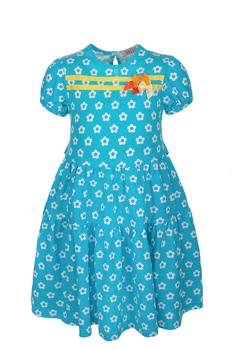 Платье для девочки M&D, цвет: голубой. SJD27010M10. Размер 104SJD27010M10Модное платье M&D выполнено из натурального хлопка. Модель с круглым вырезом горловины и короткими рукавами сзади застегивается на пуговицу. Изделие на талии дополнено поясом и оформлено цветочным принтом.