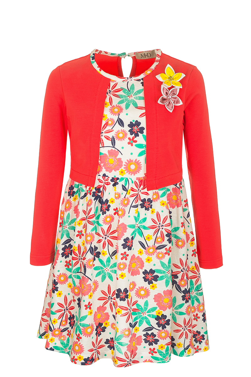 Платье для девочки M&D, цвет: коралловый. SJD27011M04. Размер 116SJD27011M04Модное платье M&D выполнено из натурального хлопка. Платье с круглым вырезом горловины и рукавами застегивается по спинке на пуговицу. От линии талии заложены складочки, придающие платью пышность. Изделие оформлено оригинальным принтом и украшено цветами. Отделка и расцветка модели создают эффект 2 в 1 - платья с жакетом.