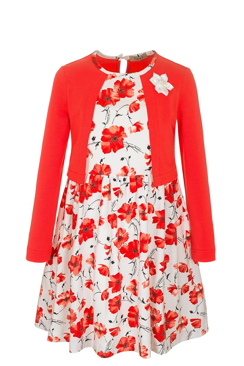 Платье для девочки M&D, цвет: коралловый. SJD27012M04. Размер 98SJD27012M04Модное платье M&D выполнено из натурального хлопка. Платье с круглым вырезом горловины и длинными рукавами застегивается по спинке на пуговицу. От линии талии заложены складочки, придающие платью пышность. Изделие оформлено оригинальным принтом и украшено цветком. Отделка и расцветка модели создают эффект 2 в 1 - платья с жакетом.