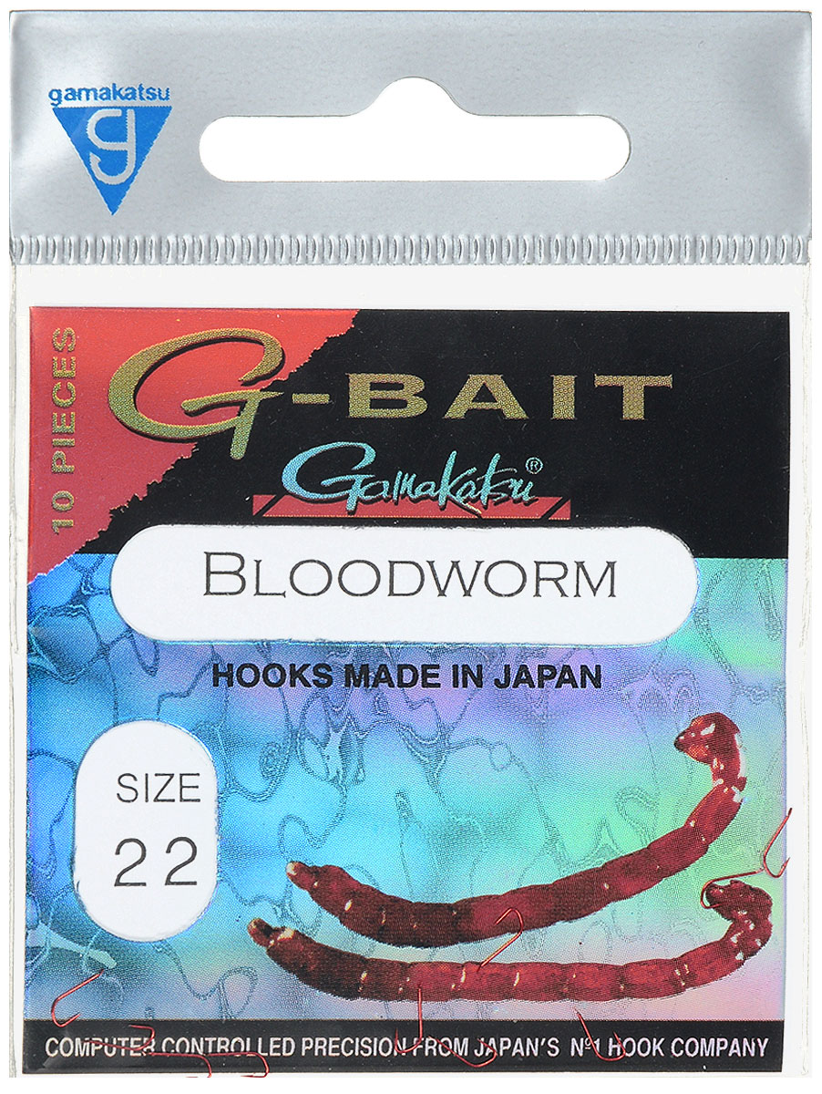 Крючок рыболовный Gamakatsu G-Bait. Bloodworm, №22, 10 шт