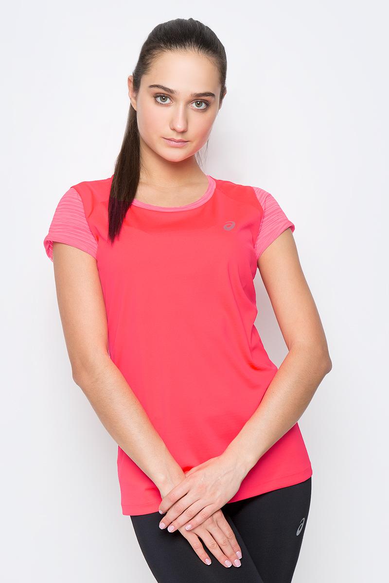 Футболка для бега женская Asics Fuzex SS Top, цвет: ярко-розовый. 141255-0688. Размер XL (50/52)