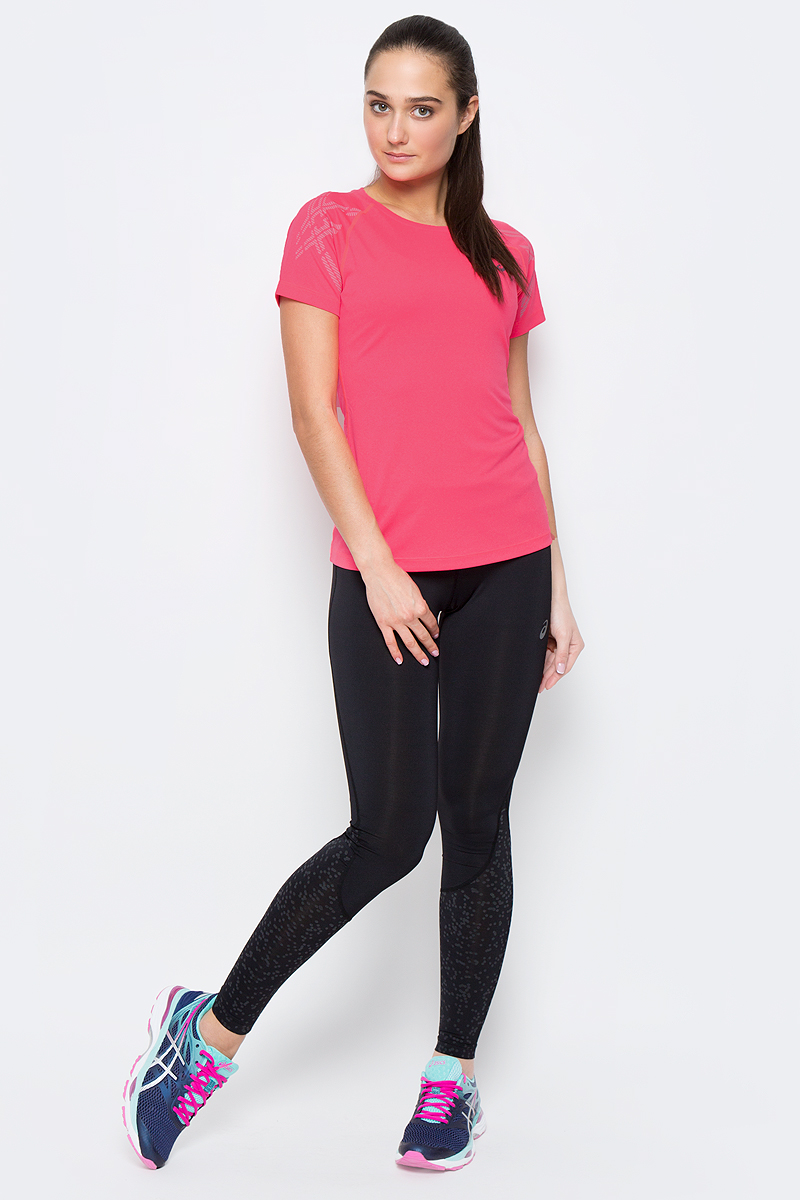 Футболка для бега женская Asics Stripe SS Top, цвет: розовый. 141224-6039. Размер XS (40/42) футболка для фитнеса женская asics layering top цвет серый 136042 0718 размер xs 40 42