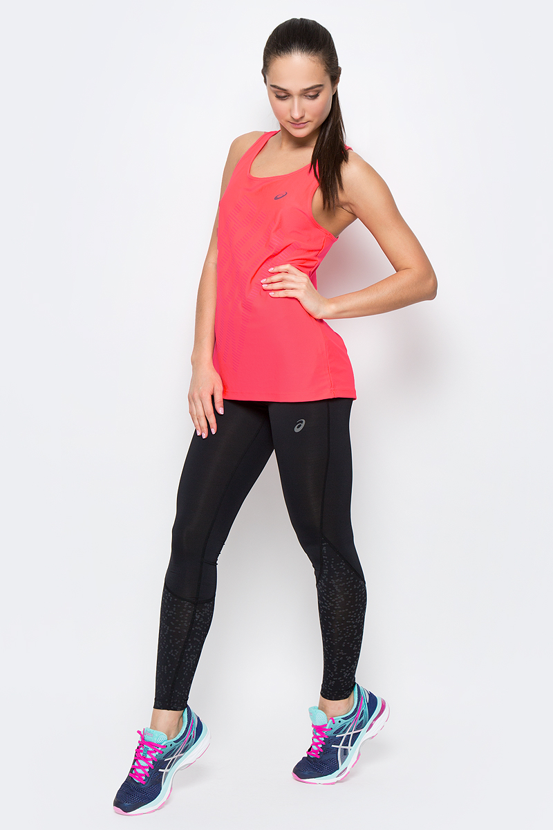 Майка для бега женская Asics Graphic Tank, цвет: ярко-розовый. 141266-0688. Размер XS (40/42) футболка для фитнеса женская asics layering top цвет ярко розовый 136042 0688 размер s 42 44