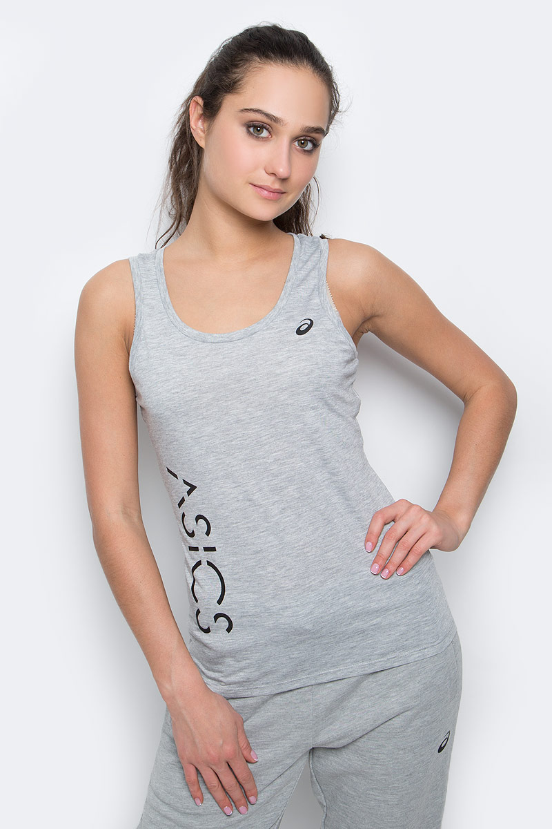 Майка женская Asics Logo Tank, цвет: серый. 141618-0714. Размер XS (40/42) asics майка racerback tank