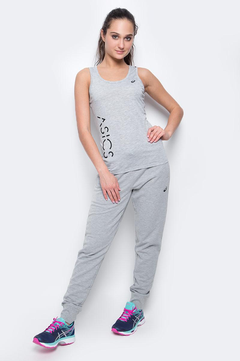 Майка женская Asics Logo Tank, цвет: серый. 141618-0714. Размер XS (40/42) футболка для фитнеса женская asics layering top цвет серый 136042 0718 размер xs 40 42