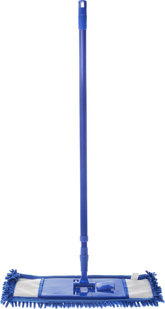 Швабра Home Queen Еврокласс, с телескопической ручкой, цвет: темно-синий, 73-126 см56649_синийШвабра Home Queen Еврокласс, выполненная из высококачественной стали, полипропилена, полиэстера и полиамида, идеально подходит для мытья всех типов напольных поверхностей: паркет, ламинат, линолеум, кафельная плитка. Материал насадки - шенилл (разновидность микрофибры) обладает высокой износостойкостью, не царапает поверхности и отлично впитывает влагу. Кроме того, сверхтонкое волокно микрофибры состоит из двух полимеров, соединенных в одну нить. Один из полимеров обладает свойством притягивать жирные и маслянистые вещества, таким образом, масло и жир прилипают непосредственно к волокнам насадки, что позволяет во многих случаях не использовать при уборке чистящие средства. Благодаря своей структуре, шенилловая насадка отлично моет углы. Телескопический механизм ручки позволяет выбрать необходимую вам длину, а также сэкономить место при хранении. Насадку можно стирать вручную или в стиральной машине с мягким моющим средством без использования кондиционера и отбеливателя, при температуре 30-40°С без кипячения.Длина ручки: 73-126 см.Размер насадки: 43 х 16 х 3 см.