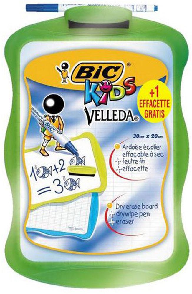 Bic Доска для рисования Velleda цвет зеленый841362_зеленыйДвухсторонняя доска для рисования Bic Velleda сделает занятия с ребенком энергичными, яркими и запоминающимися, ведь писать и рисовать на ней намного интереснее, чем в классической тетрадке.Доска выполнена из плотного и качественного материала. Одна сторона доски белая, другая разлинована в голубую линейку. Размер рабочей поверхности: 24,5 х 17,0 см. Доска предназначена для многократного нанесения информации - достаточно стереть записи губкой, входящей в комплект. В комплект также входит маркер синего цвета. Маркер крепится к доске с помощью специального держателя.
