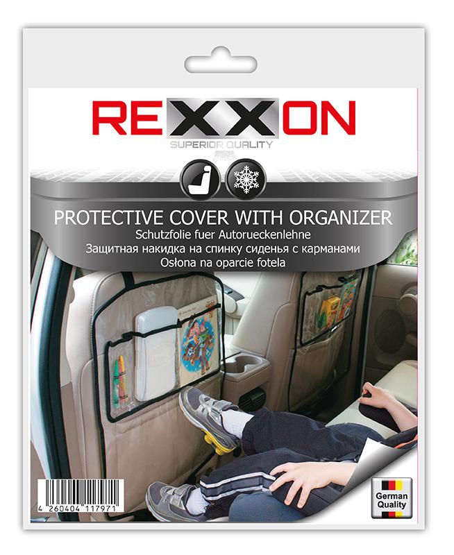 Накидка на сиденье Rexxon Комфорт, цвет: прозрачный3-8-2-2-1Защитная накидка на спинку сиденья с КАРМАНАМИ, 60х45 мм. Выполнена из морозостойкой плёнки ПВХ.