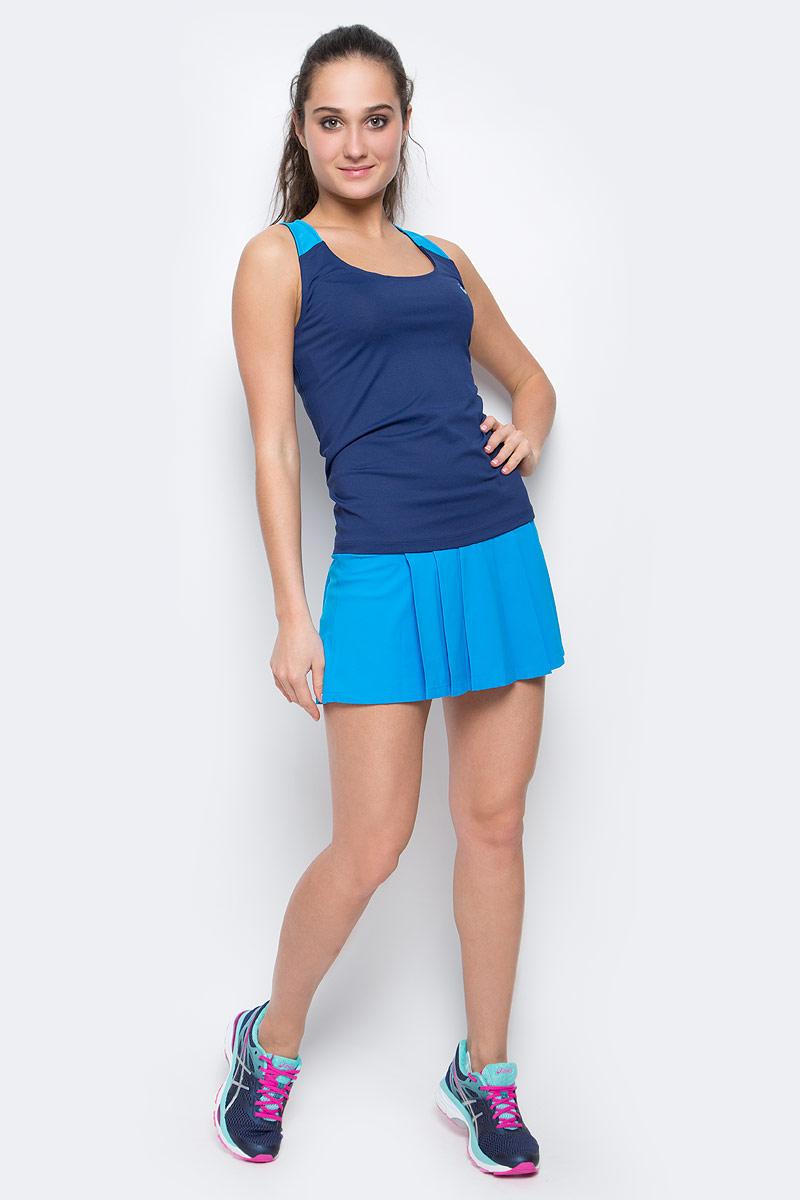 Майка для фитнеса женская Asics Fitted Tank, цвет: синий. 136039-8052. Размер XS (40/42) футболка для фитнеса женская asics layering top цвет серый 136042 0718 размер xs 40 42