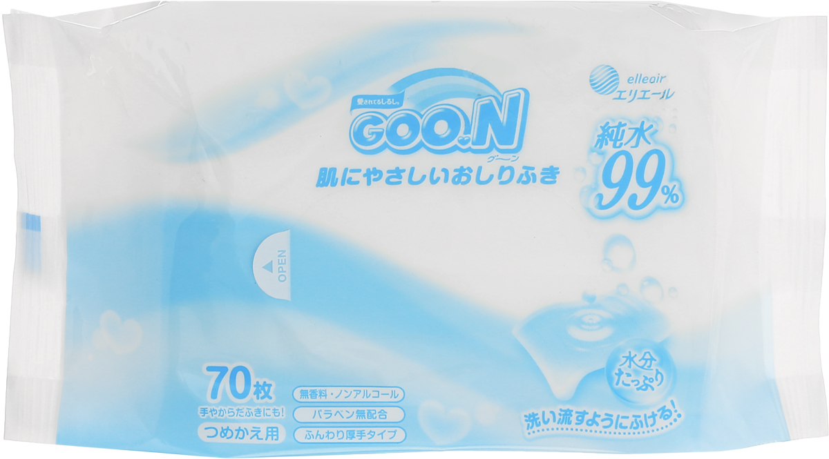 "Влажные салфетки ""Goon"", для младенцев, 70 шт"