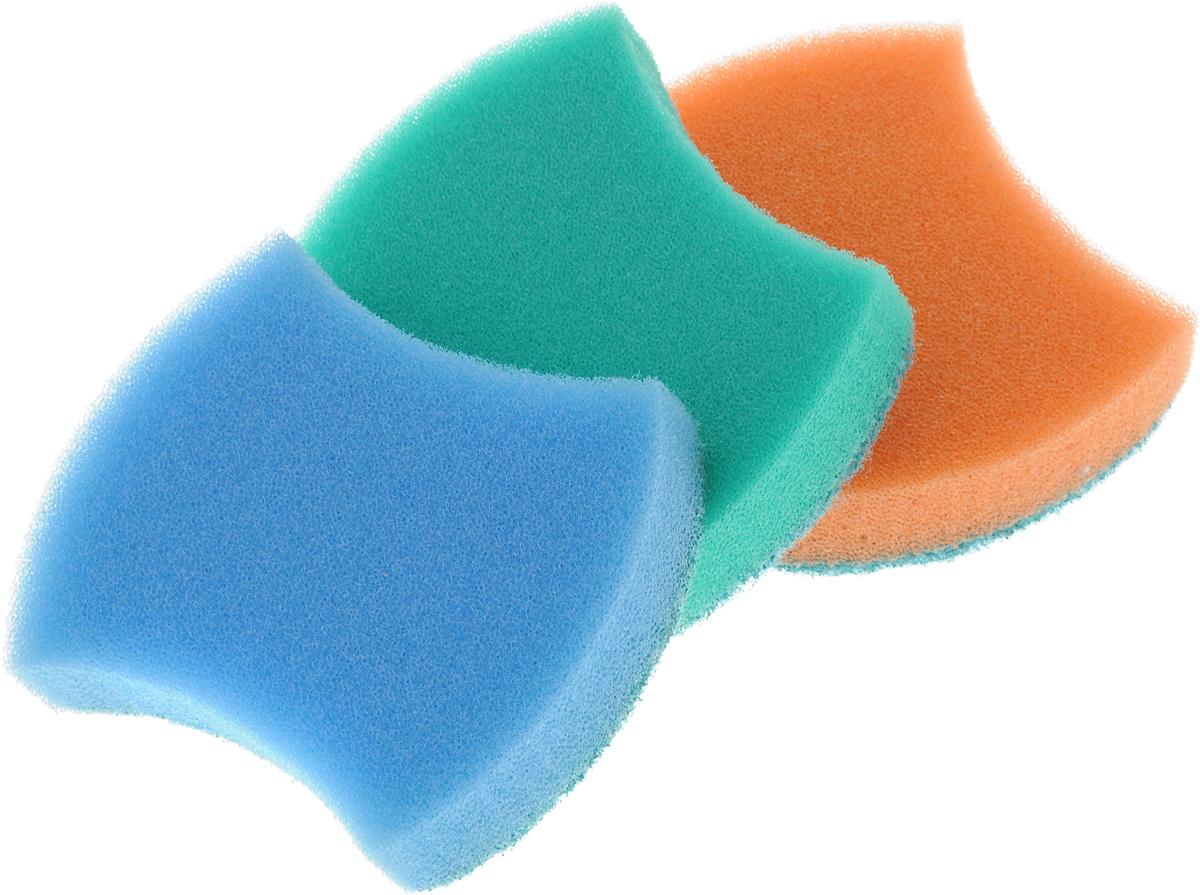 Губка универсальная Фэйт Модерн, 3 шт1.4.01.008_голубой, зеленый, оранжевыйУниверсальная губка Фэйт Модерн, изготовленная из особо прочного поролона и абразива, прекрасно впитывает влагу, не оставляет ворсинок и разводов, быстро сохнет. Предназначена для мытья любых поверхностей. Мягкий слой для деликатного мытья, жесткий - для сильных загрязнений. Размер губки: 9 х 7 х 2,5 см. Комплектация: 3 шт.Уважаемые клиенты! Обращаем ваше внимание на цветовой ассортимент товара. Поставка осуществляется в зависимости от наличия на складе.