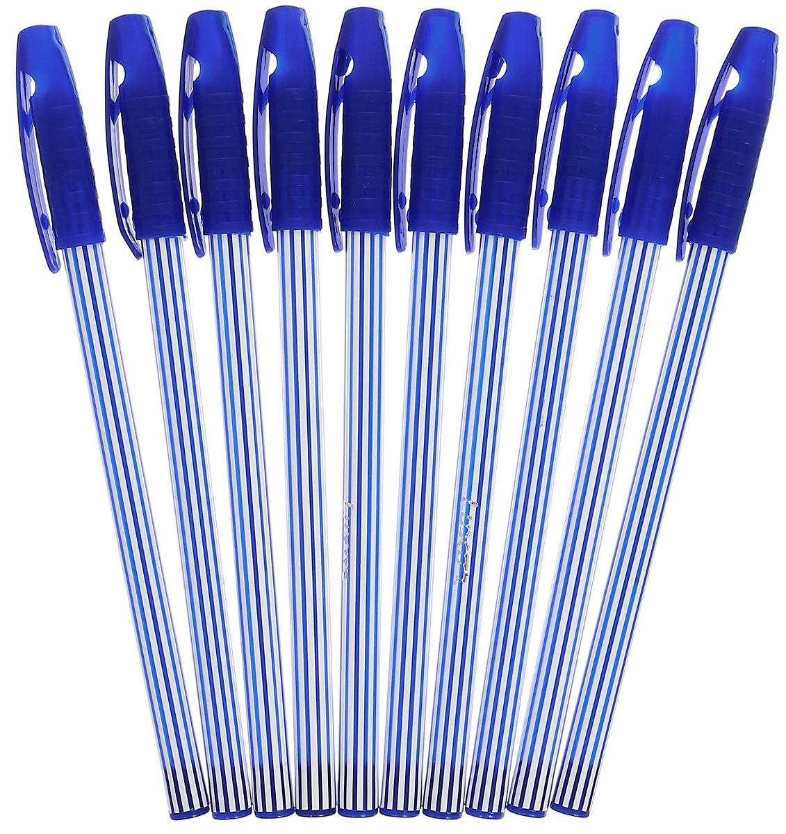 Luxor Набор шариковых ручек Stripes цвет чернил синий 10 шт31131/10СНабор шариковых ручек Luxor Stripes станет незаменимым атрибутом в учебе любого школьника и на работе.В наборе 10 шариковых ручек с колпачками, цвет чернил - синий.