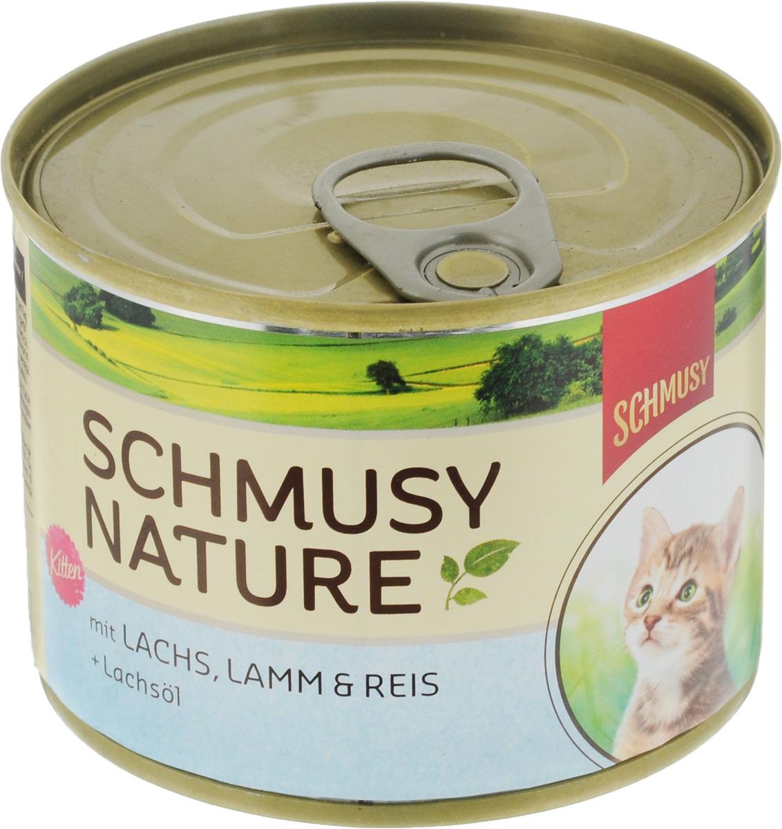 Консервы для котят Schmusy, с лососем и ягненком, 190 г70059Полнорационный корм Schmusy из натуральных ингредиентов создан в соответствии с потребностями в питании кошек. Содержит кусочки высококачественного, экологически чистого мяса, а вкусные добавки довершают натуральную рецептуру. Вкуснейшее меню обогащено сбалансированной смесью минеральных веществ, витаминов, таурином, а также рыбьим жиром для здорового роста и развития котенка. Щадящая обработка сохраняет максимум полезных веществ. Не содержит сою, красителей, консервантов. Состав: отборное мясо ягненка 20%, лосось 10%, легкое, печень, субпродукты, рис 4%, рыбий жир 0,5%, минеральные вещества. Гарантированный анализ: белое - 11%, жир - 6,5%, клетчатка - 0,3%, зола - 2%, влажность - 78%. Витамины и минералы: витамин E - 89 мг/кг, витамин B1 -24 мг/кг, витамин B6 - 6 мг/кг, фолиевая кислота - 1,5 мг/кг, витамин D3 - 180 ед/кг, таурин - 590 мг/кг. Товар сертифицирован.