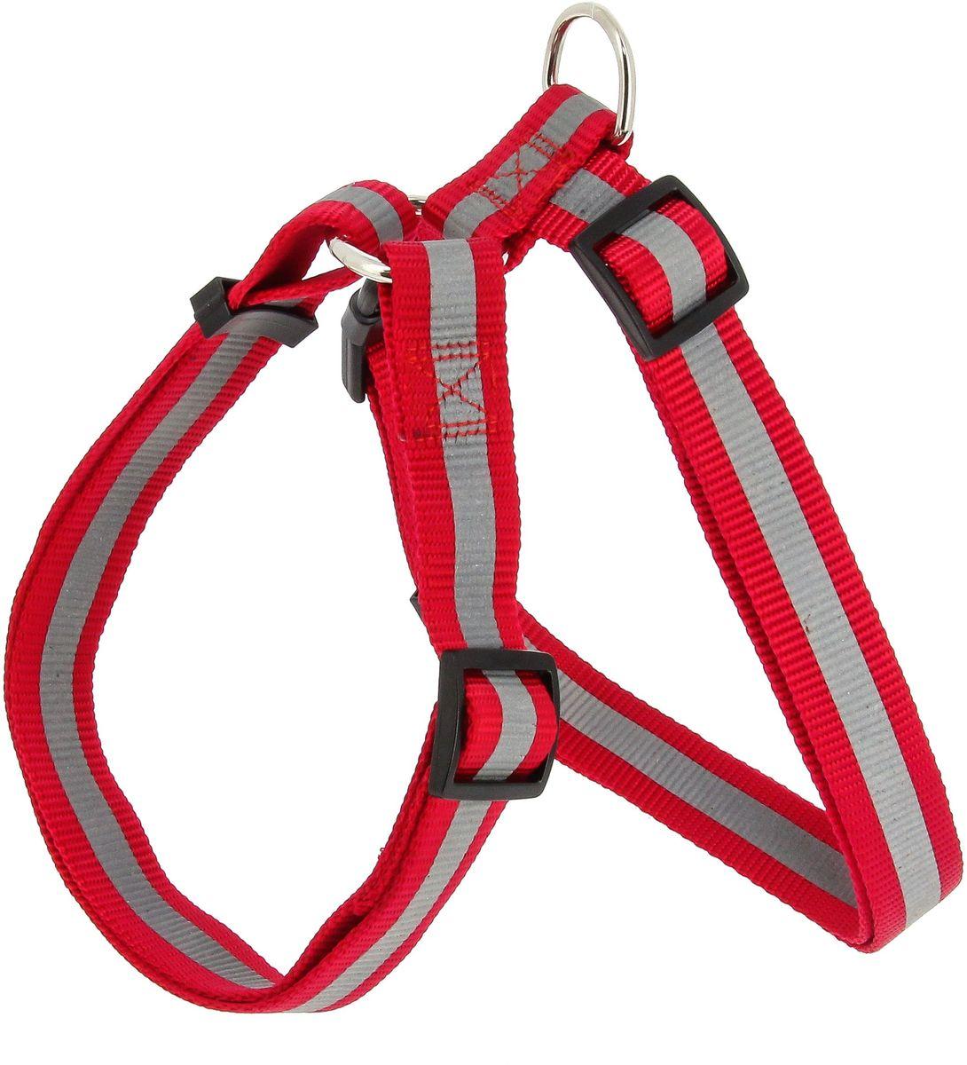 Шлейка для собак Каскад, со светоотражателем, цвет: красный, ширина 15 мм, длина 25-40 см01215013-02