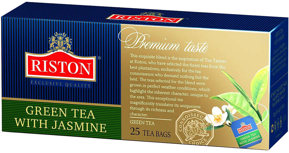 Riston Зеленый чай с лепестками жасмина в пакетиках, 25 шт4792156001838Зеленый чай Riston с добавлением лепестков жасмина. Ярко выраженный золотистый настой напитка с особым утонченным вкусом и восхитительным цветочным ароматом жасмина дарит ощущение свежести и бодрости в течение всего дня.Всё о чае: сорта, факты, советы по выбору и употреблению. Статья OZON Гид