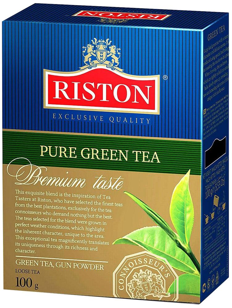 Riston Gun Powder зеленый листовой чай, 100 г4792156002187Крупнолистовой зеленый чай Riston с крепким настоем и тонким ароматом. Приготовлен по специальной технологии прокаливания чайных листьев на сковороде. При заваривании чаинки, туго скрученные в маленькие шарики, медленно распускаются, раскрывая новые удивительные грани необычайно богатого чайного букета. Стандарт GP.