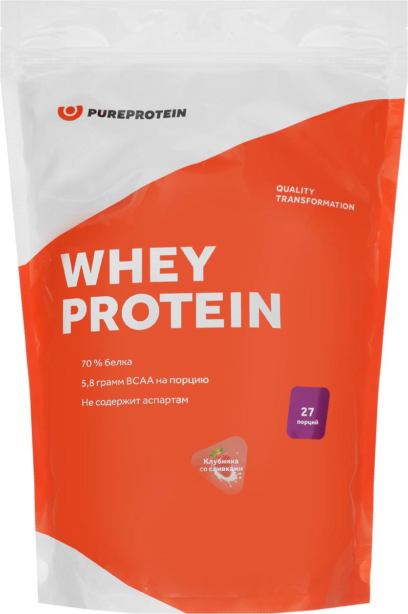 Протеин PureProtein Whey Protein, клубника со сливками, 810 г протеин vplab pro5 protein ваниль крем 500 г